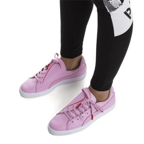 Thumbnail 2 of Basket Crush Emboss Heart Women's Sneakers, Pale Pink-Hibiscus, medium