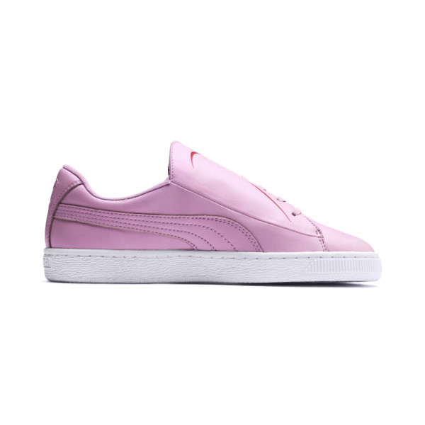 Basket Crush Emboss Heart Women's Sneakers, Pale Pink-Hibiscus, large