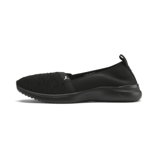Adelina is a new lightweight ballet shoe designed for everyday comfort. The lightweight upper with a flexible neoprene heel and curved EVA outsole provides ultimate comfort and fit. FEATURES + BENEFITS | PUMA Adelina Women\\'s Ballet Shoes in Black/White, Size 5.5