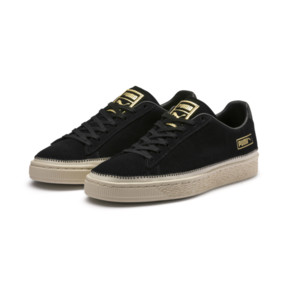 Thumbnail 3 of Suede Trim Trainers, Puma Black-Whisper - Gold, medium