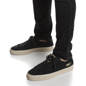 Thumbnail 7 of Suede Trim Trainers, Puma Black-Whisper - Gold, medium