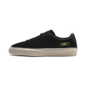 Thumbnail 1 of Suede Trim Trainers, Puma Black-Whisper - Gold, medium