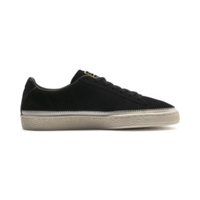 Thumbnail 5 of Suede Trim Trainers, Puma Black-Whisper - Gold, medium
