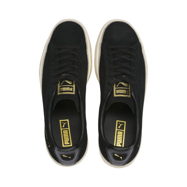 Suede Trim Trainers, Puma Black-Whisper - Gold, large