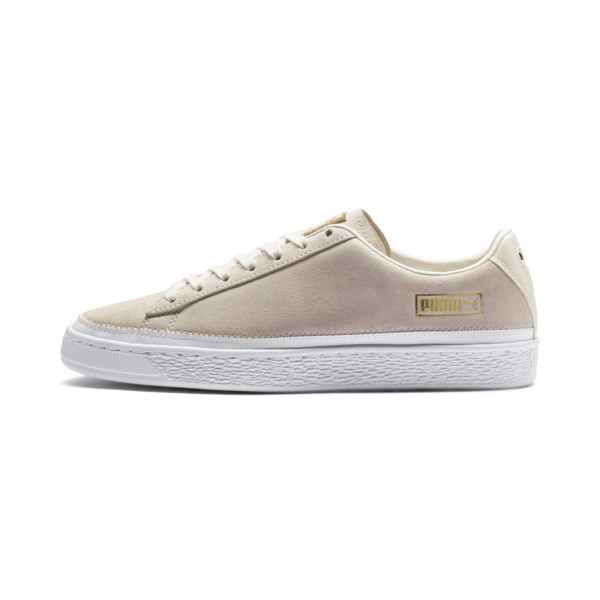 Sneakers met suède rand, Whisper wit-wit-goud, large
