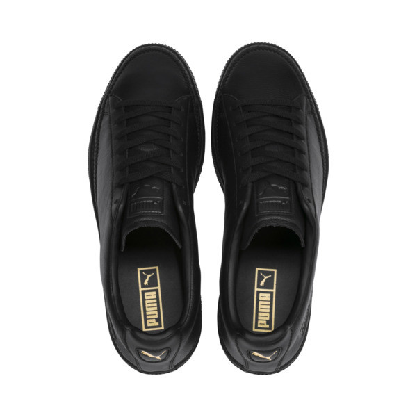 Basket Trim Shoes, Puma Black-Puma Team Gold, large