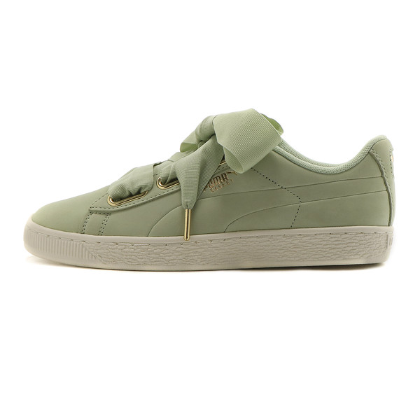 Basket Heart Soft Women's Sneakers, Smoke Green-Marshmallow, large