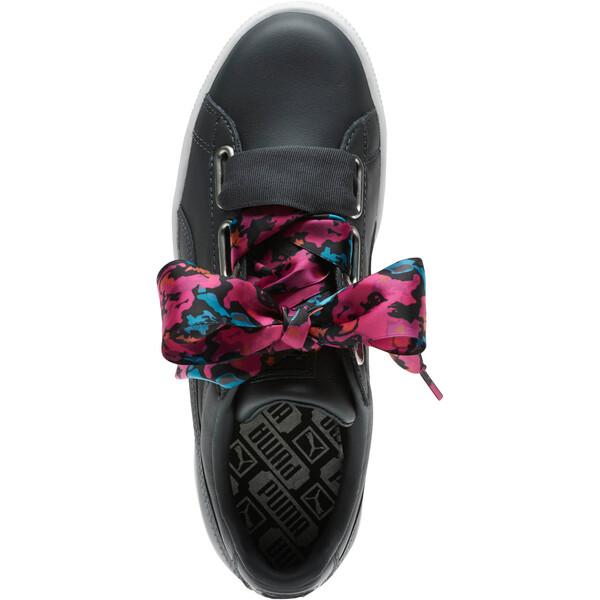 Basket Heart Wonderland Women's Sneakers, Ebony-Puma Silver, large