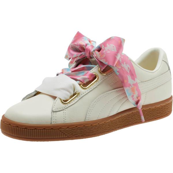 Basket Heart Wonderland Women's Sneakers, Marshmallow-Puma Team Gold, large