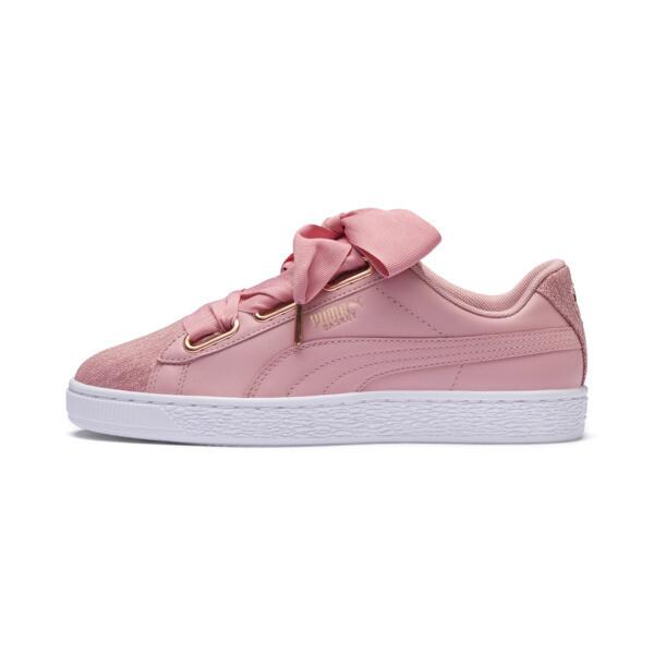 Basket Heart Woven Rose Women's Sneakers, Bridal Rose-Puma White, large