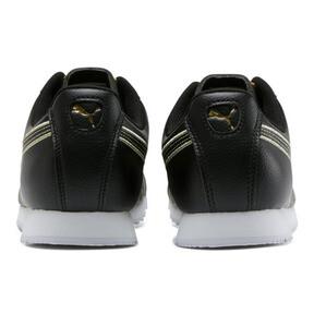 Thumbnail 3 of Roma Metallic Stitch Women's Sneakers, Puma Black-Puma Team Gold, medium