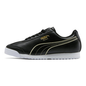 75036d69744 Roma Metallic Stitch Women's Sneakers, Puma Black-Puma Team Gold, medium.  Shop Now