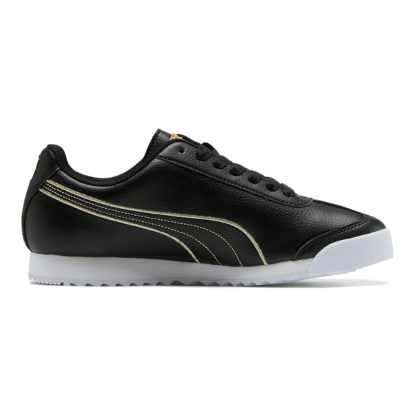 Roma Metallic Stitch Women's Sneakers, Puma Black-Puma Team Gold, large
