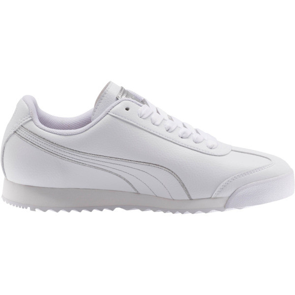 Roma Metallic Stitch Women's Sneakers, Puma White-Puma Silver, large