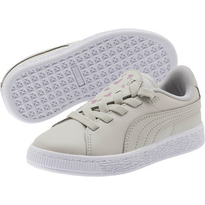 Thumbnail 2 of Basket Crush Glitter Hearts AC Sneakers PS, Gray Violet-Puma White, medium