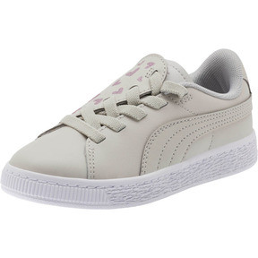 Thumbnail 1 of Basket Crush Glitter Hearts AC Sneakers PS, Gray Violet-Puma White, medium
