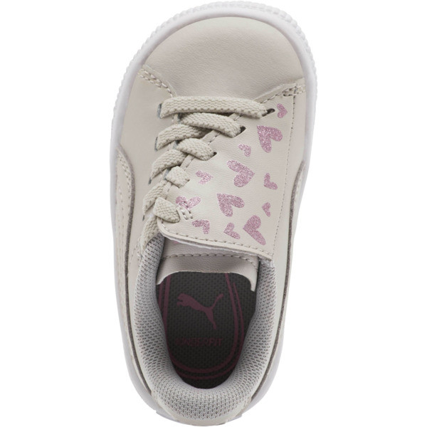 Basket Crush Glitter Hearts AC Toddler Shoes, Gray Violet-Puma White, large