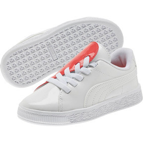 Thumbnail 2 of Basket Crush Patent AC Sneakers PS, Puma White-Hibiscus, medium