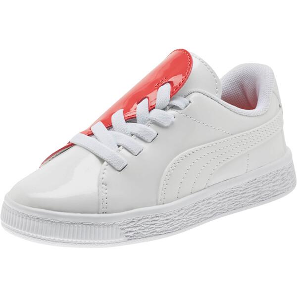 Basket Crush Patent AC Sneakers PS, Puma White-Hibiscus, large
