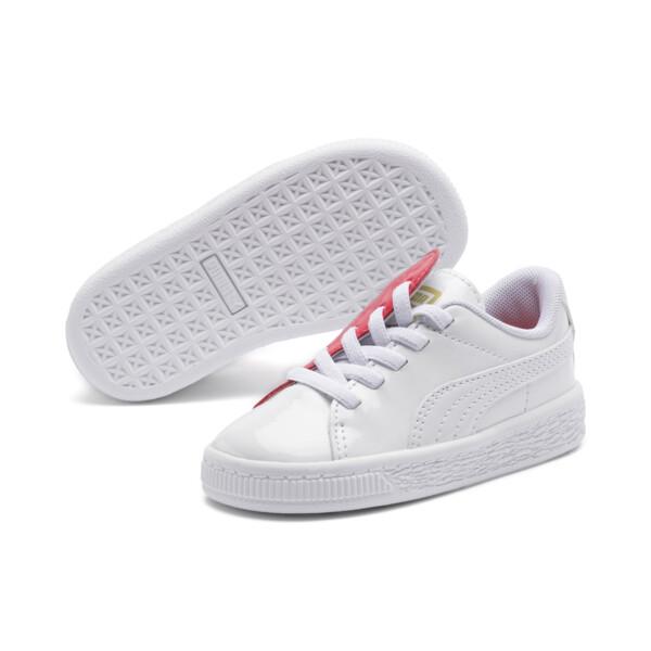 Basket Crush Patent AC Toddler Shoes, Puma White-Hibiscus, large