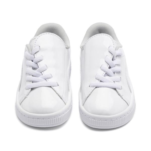 Basket Crush Patent Baby Girls' Trainers, Puma White-Puma White, large