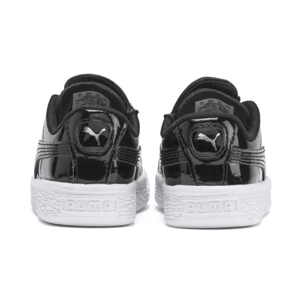 Basket Crush Patent AC Toddler Shoes, Puma Black-Puma White, large