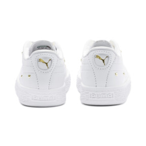 Thumbnail 3 of Basket Studs Kid Girls' Trainers, Puma White-Puma Team Gold, medium