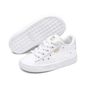 Thumbnail 2 of Basket Studs Kid Girls' Trainers, Puma White-Puma Team Gold, medium