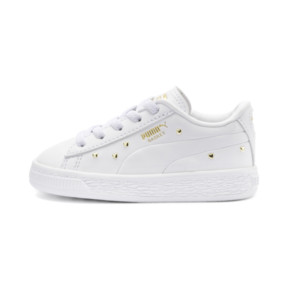 Thumbnail 1 of Basket Studs Kid Girls' Trainers, Puma White-Puma Team Gold, medium