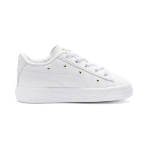 Thumbnail 5 of Basket Studs Kid Girls' Trainers, Puma White-Puma Team Gold, medium