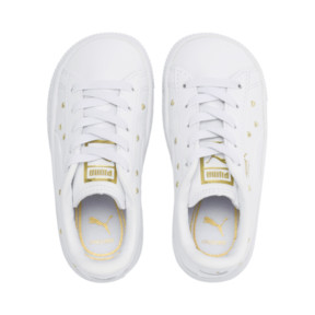 Thumbnail 6 of Basket Studs Kid Girls' Trainers, Puma White-Puma Team Gold, medium