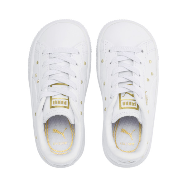 Basket Studs Kid Girls' Trainers, Puma White-Puma Team Gold, large