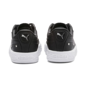 Thumbnail 3 of Basket Studs Kid Girls' Trainers, Puma Black-Puma Silver, medium
