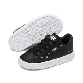 Thumbnail 2 of Basket Studs Kid Girls' Trainers, Puma Black-Puma Silver, medium