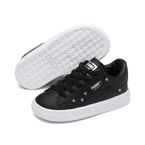 Basket Studs Kid Girls' Trainers, Puma Black-Puma Silver, large