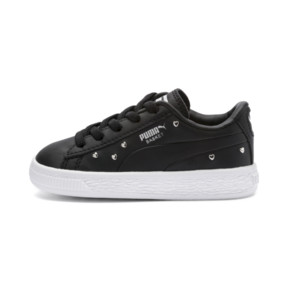 Thumbnail 1 of Basket Studs Kid Girls' Trainers, Puma Black-Puma Silver, medium