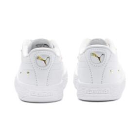 Thumbnail 3 of Basket Studs Baby Girls' Trainers, Puma White-Puma Team Gold, medium