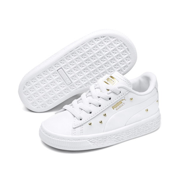 Basket Studs Baby Girls' Trainers, Puma White-Puma Team Gold, large