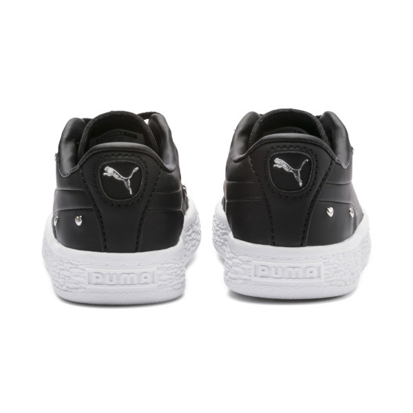 Basket Studs Baby Girls' Trainers, Puma Black-Puma Silver, large