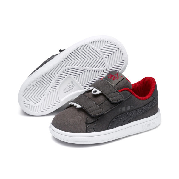 Smash v2 Monster Kids' Trainers, Asphalt-C. Gray-Red-White, large