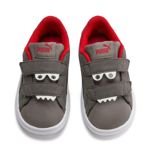 PUMA Smash v2 Monster Babies' Trainers, Asphalt-C. Gray-Red-White, large