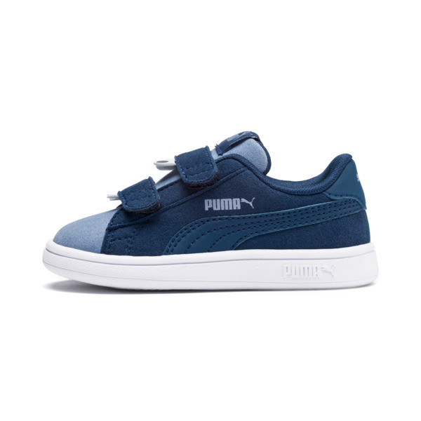 PUMA Smash v2 Monster Babies' Trainers, Gibraltar Sea-Faded Denim, large