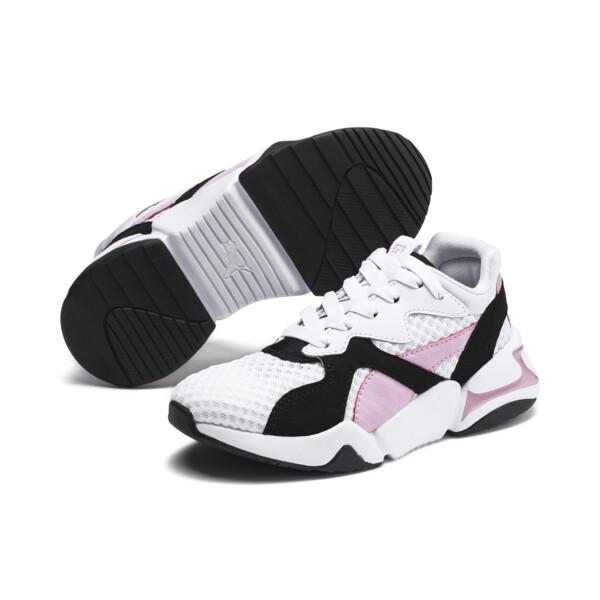 Nova '90s Bloc Kid Girls' Trainers, Puma Black-Puma White, large