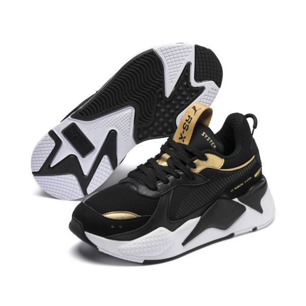 RS-X Trophy Youth Trainers, Puma Black-Puma Team Gold, large