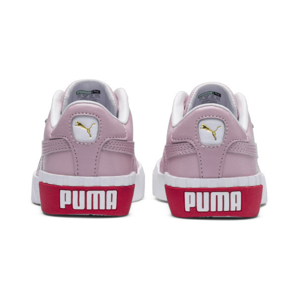Cali Girls' Trainers, Puma White-Hibiscus, large