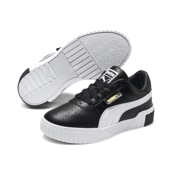 Cali Girls' Trainers, Puma Black-Puma Team Gold, large
