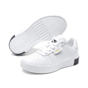 Thumbnail 2 of Cali Girls' Trainers, Puma White-Puma Black, medium