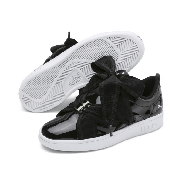 PUMA Smash v2 Patent Buckle Sneakers JR