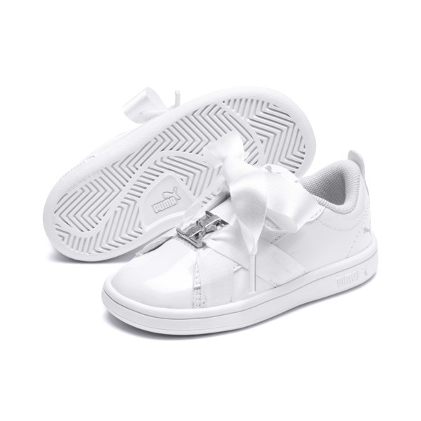 PUMA Smash v2 Patent Buckle AC Little Kids' Shoes, Puma White-Puma Silver, large
