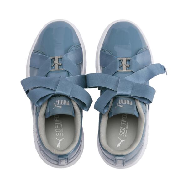 PUMA Smash v2 Patent Buckle AC Little Kids' Shoes, Bluestone-Puma Silver-White, large